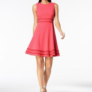 Calvin Klein Corded-Trim Fit & Flare Dress Coral